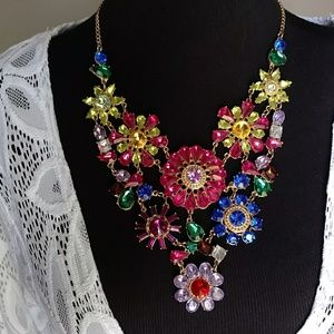 Colorful Floral Bejeweled Choker Necklace